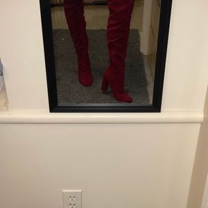 JustFab knee-high red boots